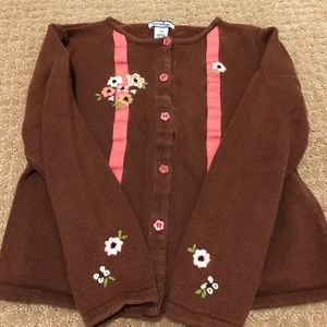 Hartstrings Brown with Flowers 🌸 Sweater-size 7/8